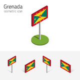 Grenada flag, vector set of 3D isometric flat icons Stock Image