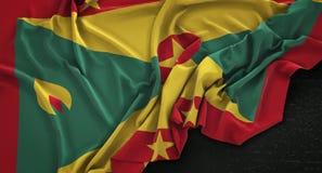 Grenada Flag Wrinkled On Dark Background 3D Render Royalty Free Stock Photos