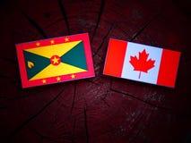 Grenada flaga z kanadyjczyk flaga na drzewnym fiszorku odizolowywającym zdjęcie stock