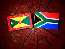 Grenada flaga z południe - afrykanin flaga na drzewnym fiszorku odizolowywającym Obrazy Royalty Free