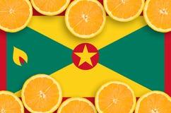 Grenada flagga i citrusfruktskivahorisontalram royaltyfri fotografi