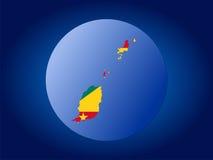 Grenada globe illustration. Map and flag of Grenada globe illustration Royalty Free Stock Image