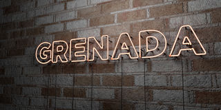 GRENADA - Glowing Neon Sign on stonework wall - 3D rendered royalty free stock illustration Stock Photo