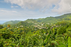 Grenada. The island of Grenada is the largest island in the Grenadines - panoramic view Stock Images