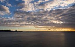 Grenada island - Sunset on the Devils bay. Caribbean sea - Grenada island - Saint George`s - Sunset on the Devils bay stock images