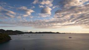 Grenada island - Sunset on the inner harbor. Caribbean sea - Grenada island - Saint George`s - Sunset on the inner harbor royalty free stock photos
