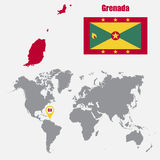 Grenada map on a world map with flag and map pointer. Vector illustration Stock Photos