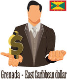 Grenada national currency East Caribbean dollar symbol representing money and Flag. Vector design concept of businessman in suit with open hand over with Royalty Free Stock Photo