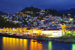 Grenada at night. St. George in Grenada with reflecting lights Royalty Free Stock Photo