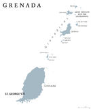 Grenada political map. With capital St George`s. Caribbean islands country and part of the Lesser Antilles and Windward Islands. Gray illustration isolated on Royalty Free Stock Image