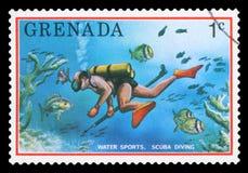 GRENADA - Postage Stamp. GRENADA - CIRCA 1976: a stamp printed in Grenada shows scuba diving, tourist publicity, circa 1976 stock images