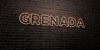 GRENADA -Realistic Neon Sign on Brick Wall background - 3D rendered royalty free stock image Royalty Free Stock Photography