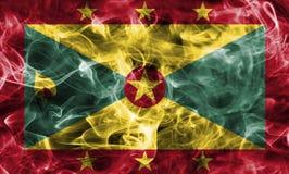 Grenada smoke flag. Isolated on a black background Royalty Free Stock Photo