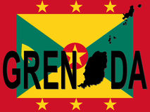 Grenada text with map Royalty Free Stock Photo
