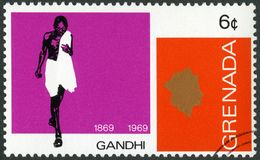 GRENADA - 1969: toont portret van Mohandas Karamchand Gandhi 1869-1948, verjaardag 100 jaar van Mahatma Gandhi Stock Afbeeldingen