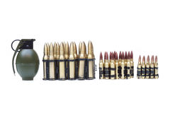 Grenade and ammo. With different sizes Stock Photos