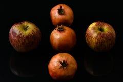 Grenade avec des fruits de morceaux de pomme sur les milieux noirs photographie stock