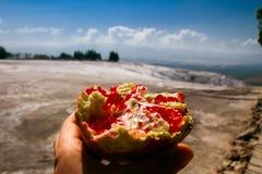 Grenade avec des graines dans une main un avant de beau paysage Images stock