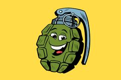 Grenade cute smiley face character Stock Photo