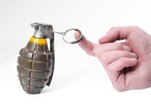 Grenade d'ananas de combat et une main Image stock