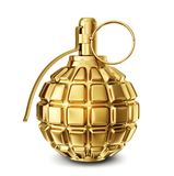 Grenade. Golden grenade isolated on a white. 3d illustration Stock Photos