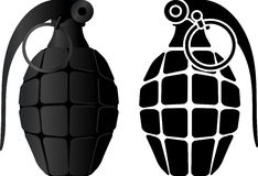 Grenade and grenade stencil Royalty Free Stock Image
