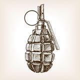 Grenade hand drawn sketch vector illustration Stock Photography