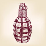 Grenade hand drawn vector illustration Royalty Free Stock Photo