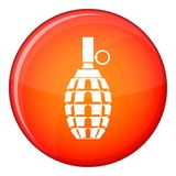 Grenade icon, flat style. Grenade icon in red circle isolated on white background vector illustration Stock Photos