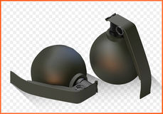 Grenade isometric flat vector 3d Royalty Free Stock Images