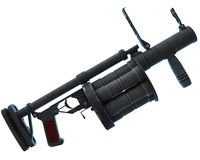 Grenade launcher. Modern Russian warfare - RG6 grenade launcher (side view) isolated over white Stock Photo