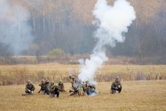 Grenade launcher shooting Royalty Free Stock Image