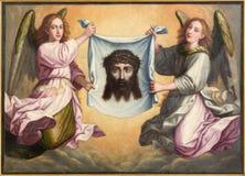 Grenade - le visage de la peinture Santa Faz de Jesus Christ en Monasterio de la Cartuja en Sala de San Pedro i San Pablo photos stock