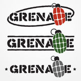 Grenade logo. Set of three military text emblems with stylized frag grenades Stock Photography