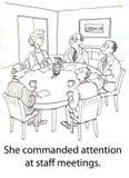 Grenade meeting. Woman boss keeps meeting control Stock Photo