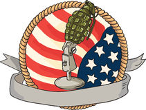 Grenade Microphone USA Flag Circle Retro Stock Image