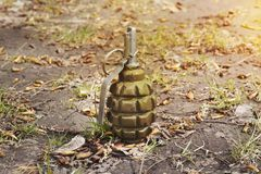 Grenade se trouvant au sol Grenade à main F-1 grenade perdue abandonnée de greenfragmentation de grenade Photos libres de droits