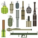 Grenade Set. Military Weapon. Grenade Launcher Isolated on White Background. Vector Illustration vector illustration
