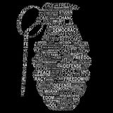 Grenade shape for human rights. On black Stock Photos