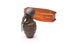 Grenade Soldier with Coffin Royalty Free Stock Image