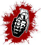 Grenade with splattered blood. Grenade Silhouette with red splattered blood Royalty Free Stock Image