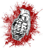 Grenade with splattered blood. Stains Stock Photo