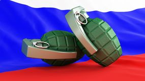 Grenades flag Russia. Violence wars Royalty Free Stock Photo