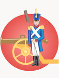 Grenadier and cannon Stock Photo