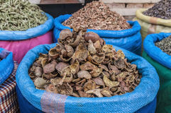 Grenadine sack in Marrakech souk at Morocco Royalty Free Stock Photos