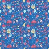 Grüßendes nahtloses Muster der glücklichen Geburtstagsfeier mit Hand gezeichnetem L Stockfotografie