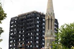 Grenfell塔式大楼肯辛顿伦敦 库存图片
