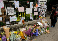 The Grenfell Tower Block Fire Disaster. Floral tributes and messages for the victims of the Grenfell Tower fire disaster, London, UK, which left hundreds stock photo