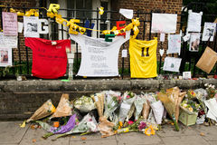 The Grenfell Tower Block Fire Disaster. Floral tributes and messages for the victims of the Grenfell Tower fire disaster, London, UK, which left hundreds royalty free stock image