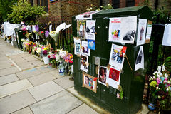The Grenfell Tower Block Fire Disaster. Floral tributes and messages for the victims of the Grenfell Tower fire disaster, London, UK, which left hundreds stock images